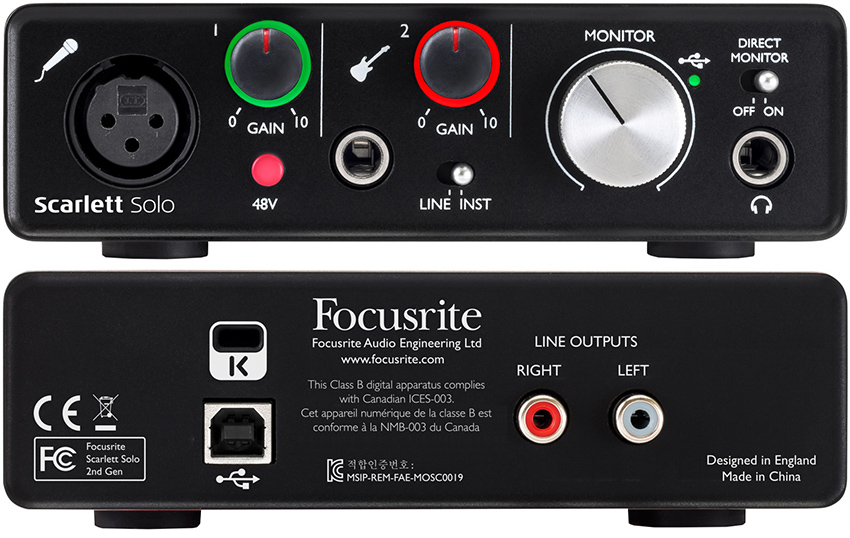 کارت صدا فوکوس رایت Focusrite Scarlett Solo G2 USB 2.0 Audio Interface